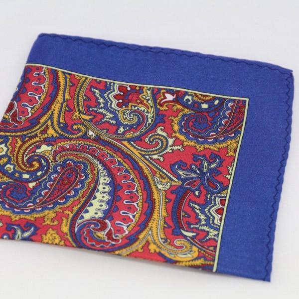 Μεταξωτό μαντήλι τσέπης Blue & Shades of Yellow Paisley
