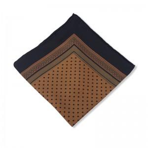 Μεταξωτό μαντήλι καφέ τσέπης πουά