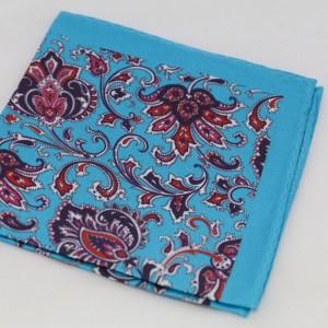 Μεταξωτό μαντήλι τσέπης Capri Blue Paisley