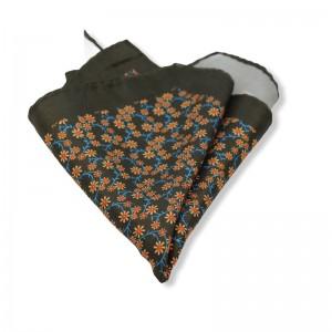 Μεταξωτό μαντήλι τσέπης floral λαδί