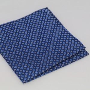Μεταξωτό μαντήλι τσέπης Floral Blue