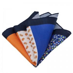 Μεταξωτό μαντήλι τσέπης 4 σε 1 μπλε, πορτοκαλί