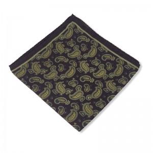 Μεταξωτό μαντήλι τσέπης με λαχούρια σκούρο καφέ