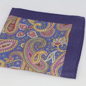 Μεταξωτό μαντήλι τσέπης Lavender Blue Paisley