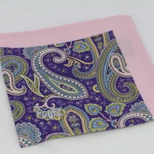 Μεταξωτό μαντήλι τσέπης Pink Paisley