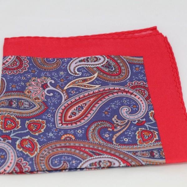 Μεταξωτό μαντήλι τσέπης Red / Blue Purple Paisley