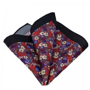 Μεταξωτό μαντήλι τσέπης φλοράλ κόκκινο