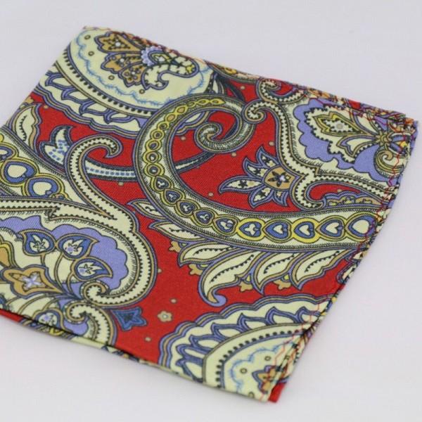 Μεταξωτό μαντήλι τσέπης Red & Light Yellow Paisley