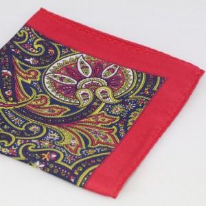 Μεταξωτό μαντήλι τσέπης Red, Yellow & Blue Paisley