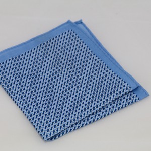 Μεταξωτό μαντήλι τσέπης Sky Blue Geometric Design