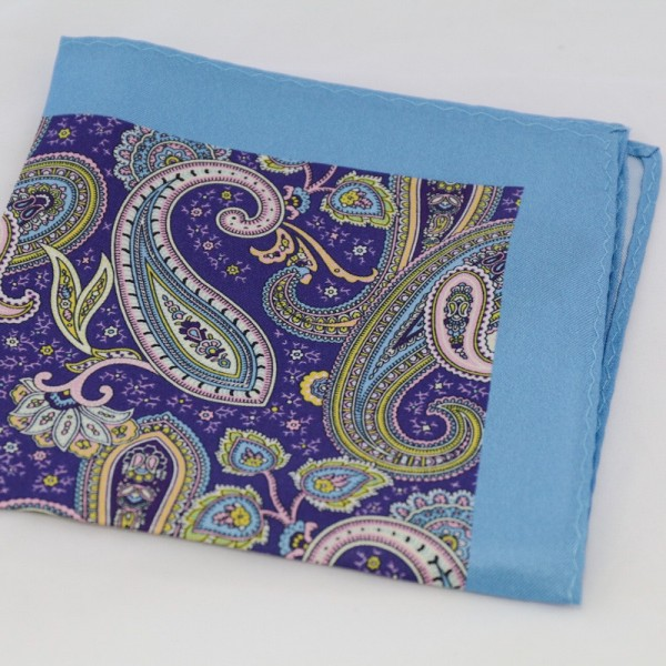 Μεταξωτό μαντήλι τσέπης Sky Blue & Purple Paisley
