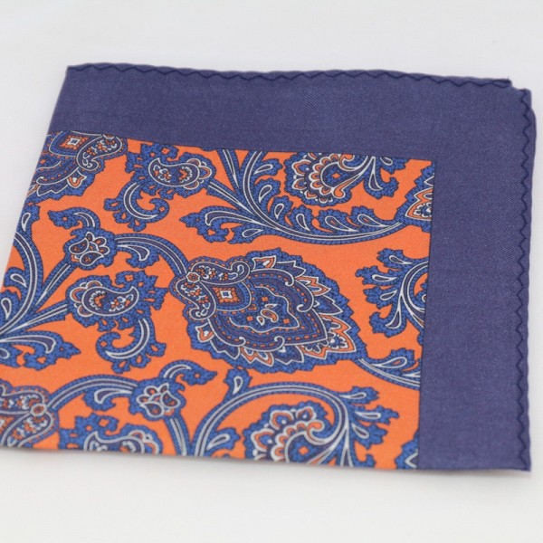 Μεταξωτό μαντήλι τσέπης Tabac Blue Paisley