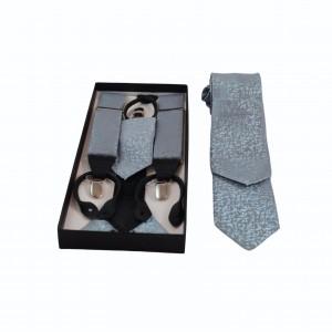 Set Τιράντες, Γραβάτα & Μαντήλι Ασημί Light Blue 7.5εκ.