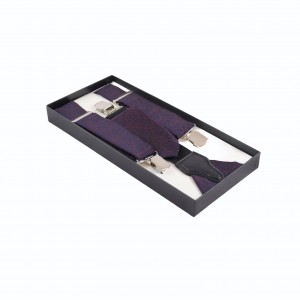 Set Τιράντες, Γραβάτα & Μαντήλι Μωβ Metallic Yarn 7.5εκ.