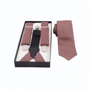 Set Τιράντες & Γραβάτα Καμένο Πορτοκαλί/ Γκρι