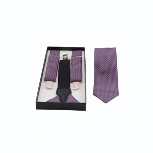 Set Τιράντες & Γραβάτα Μωβ/ Γκρι