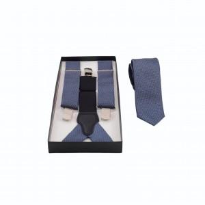 Set Τιράντες & Γραβάτα Μπλε/ Γκρι