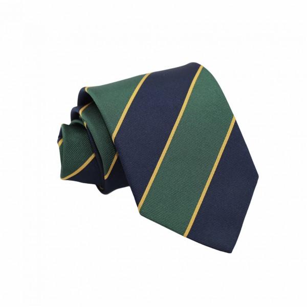 Μεταξωτή Γραβάτα Regimental Jacquard Μπλε, Πράσινο, Κίτρινο Φαρδιά Ρίγα 8.5εκ. Γραβάτες
