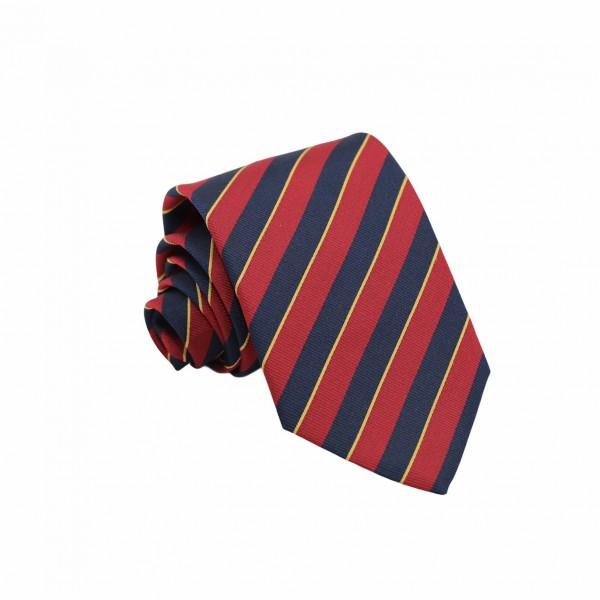 Μεταξωτή Γραβάτα Regimental Jacquard Μπλε, Κόκκινο, Κίτρινο 8.5εκ. Γραβάτες