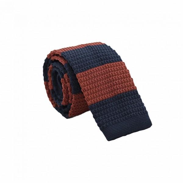 Πλεχτή Γραβάτα Μπλε/ Ταμπά Ριγέ 5.5εκ. Γραβάτες