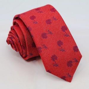 Μεταξωτή γραβάτα κόκκινη με λουλούδια