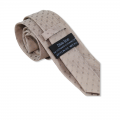 Μπεζ γραβάτα με γαλάζιο πουά 7.5εκ.