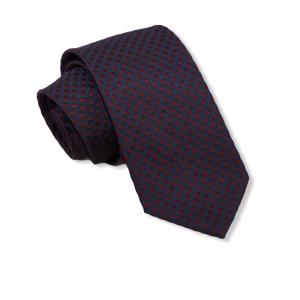 Μεταξωτή γραβάτα μπλε με μπορντο πουά