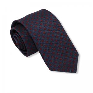 Μεταξωτή γραβάτα μπλε με κόκκινο πουά