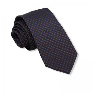 Μεταξωτή γραβάτα μπλε με καφέ πουά