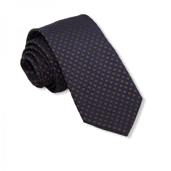 Μεταξωτή γραβάτα μπλε με καφέ πουά Γραβάτες Γραβάτες - erika.gr