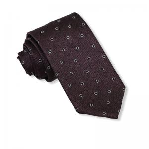 Μεταξωτή γραβάτα πουά σκούρο μπορντό