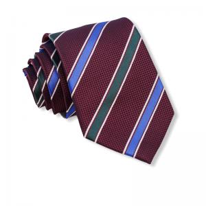 Μπορντό γραβάτα με μπλε και πράσινες ρίγες