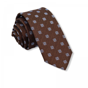 Μεταξωτή γραβάτα καφέ με σχέδιο