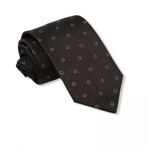 Μεταξωτή γραβάτα πουά σκούρο καφέ