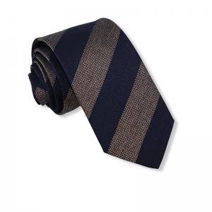 Μεταξωτή γραβάτα καφέ μπλε ριγέ