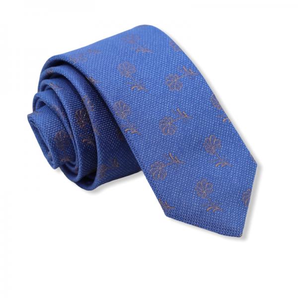 Μεταξωτή γραβάτα μπλε με λουλούδια Γραβάτες Γραβάτες - erika.gr
