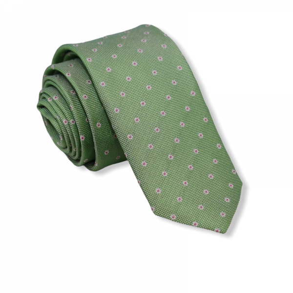 Μεταξωτή γραβάτα πράσινη με λουλούδια Γραβάτες Γραβάτες - erika.gr