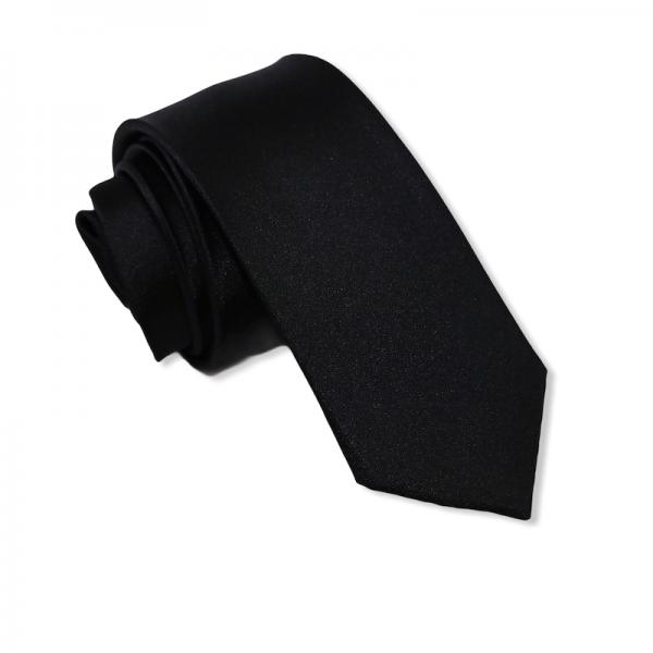 Γραβάτα Μεταξωτή Solid Black 6εκ.