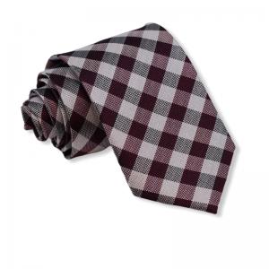 Μεταξωτή γραβάτα μπορντό καρό