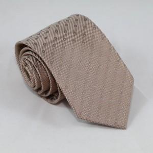 Μπεζ γραβάτα με γαλάζιο πουά 8εκ.