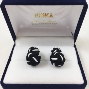 Μανικετόκουμπα big knot μαύρο με άσπρο