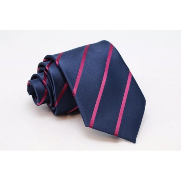 Μπλε γραβάτα με ροζ ρίγες Γραβάτες Γραβάτες - erika.gr