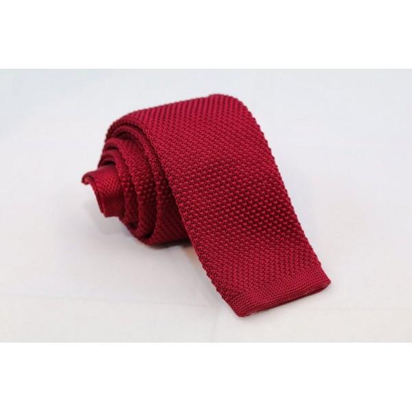 Knitted Necktie Bordo Neckties Γραβάτες - erika.gr