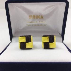 Μανικετόκουμπα knot τετράγωνα καφέ με κίτρινο