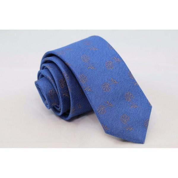 Silk blue necktie with flowers Neckties Γραβάτες - erika.gr