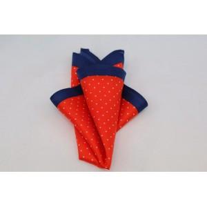 Μεταξωτό μαντήλι τσέπης κόκκινο, μπλε με άσπρα πουά