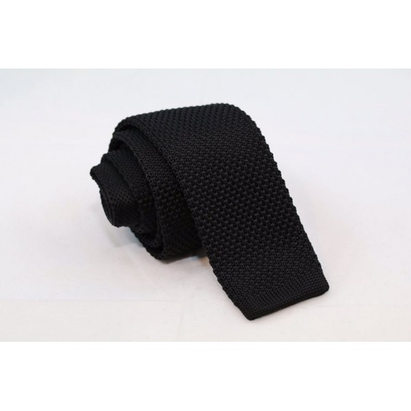 Knitted Necktie Black Neckties Γραβάτες - erika.gr