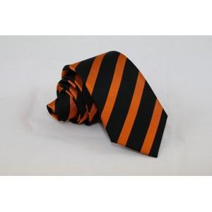 Ριγέ μεταξωτή γραβάτα πορτκαλί με μαύρο