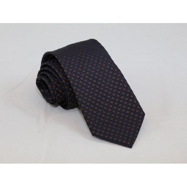 Silk blue necktie with brown dots Neckties Γραβάτες - erika.gr
