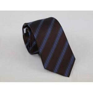 Μεταξωτή γραβάτα καφέ ριγέ